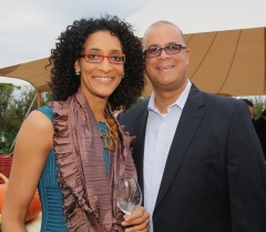 Chef Carla Hall and her husband Matthew Lyons at HARVEST 2011
